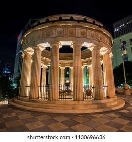Brisbane, Australia - Saturday 28th April, 2018: View of Anzac Square War Memorial in Brisbane City on Saturday 28th April 2018.