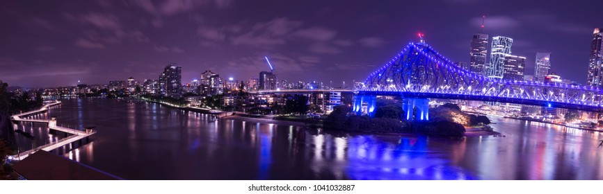 Brisbane, Australia - Saturday 3rd March, 2018: View of Brisbane city skyscrapers, Story Bridge and the Brisbane river on Saturday the 3rd of March 2018.
