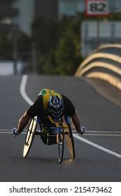 "BRISBANE, AUSTRALIA - SEPTEMBER 07 : Richard Nicholson  participating in the ""Bridge to Brisbane"" charity fun run on September 07, 2014 in Brisbane, Australia"