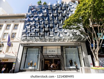 BRISBANE, AUSTRALIA – September 10, 2018:  View of the Zara retail fashion shop behind the bespoke butterfly facade in the Queen Street Mall, Brisbane, Australia
