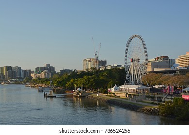 Brisbane, Australia - September 18, 2017: Sunrise Panorama of the Brisbane River & South Bank Big Wheel, Queensland Australia