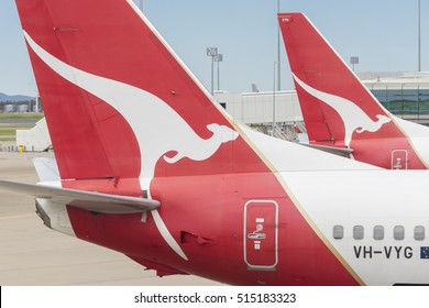 Brisbane, Australia - September 27, 2016: View of Qantas aircraft waiting for departure at Brisbane Airport during daytime. Qantas is Australia's largest domestic and international airline.