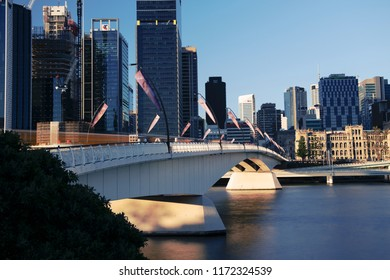 Brisbane, Australia - Sunday 19th August, 2018: View of Victoria Bridge and Brisbane City during the day from Southbank on Sunday 19th August, 2018.