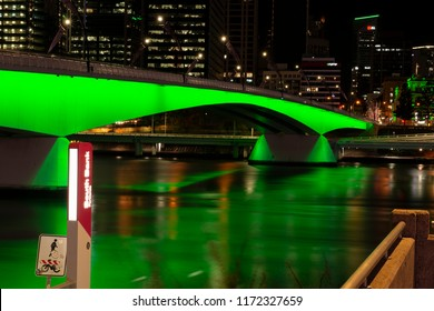 Brisbane, Australia - Sunday 19th August, 2018: View of Victoria Bridge and Brisbane City at night from Southbank on Sunday 19th August, 2018.
