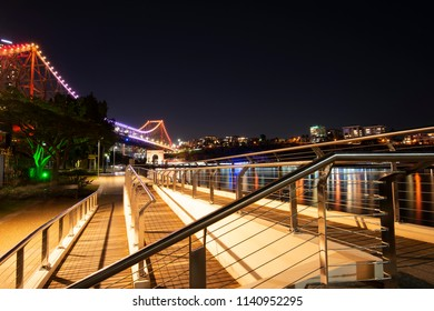 Brisbane, Australia - Sunday 22nd July, 2018: View of the Brisbane river and new farm area at night on Sunday 22nd July, 2018.