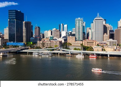 BRISBANE, AUSTRALIA-DECEMBER 29 2013:View of Brisbane from South Bank over the river. Brisbane is the capital of QLD and the third largest city in Australia. December 29, 2013 Brisbane, Australia
