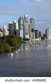 Brisbane, Capital of Queensland Australia.  Picture highlights the Brisbane River, Botanic Gardens and City Skyline featuring some of the city's iconic features.