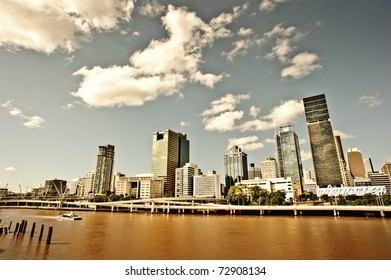 Brisbane city is along with Brisbane river which is colored yellow and red due to the recent flood.