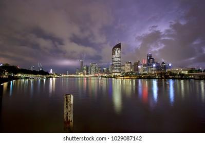 Brisbane City Australia. Summer storms lighting the sky