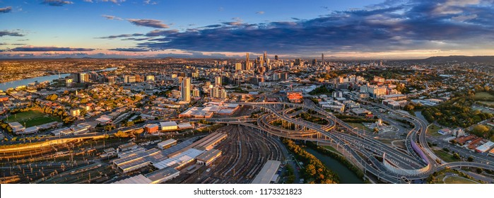 Brisbane city business district and suburbs panorama at sunset