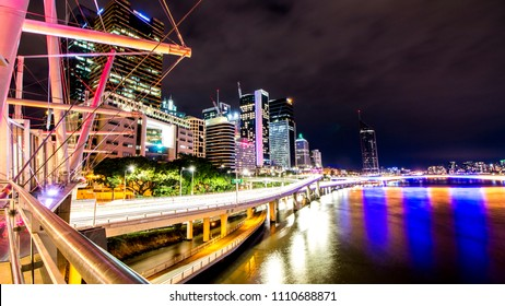 Brisbane City At Night Long Exposure with Riverside Expressway and Kurilpa Bridge