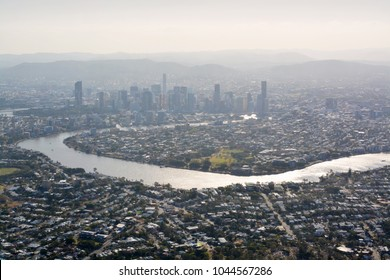 Brisbane City & River  Aerial View  in Late Afternoon Spring Sunshine, Queensland, Australia.