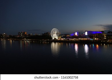 Brisbane city skyline along the river with southbank entertainment areas