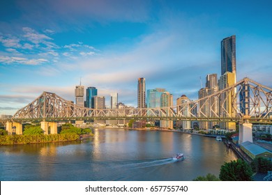 Brisbane city skyline and Brisbane river in Australia