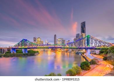Brisbane city skyline and Brisbane river at sunset in Australia