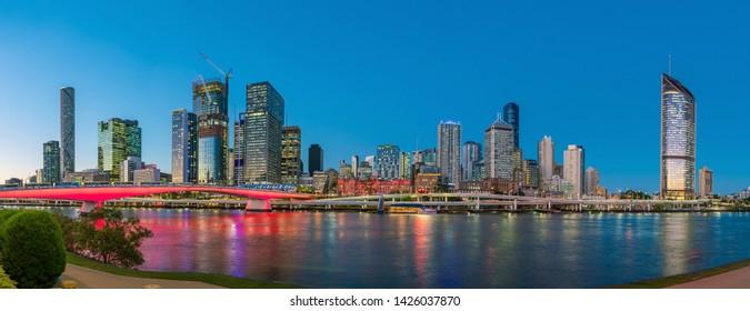 Brisbane city skyline and Brisbane river at twilight in Australia