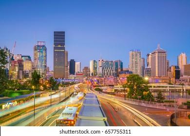 Brisbane city skyline  at twilight in Australia
