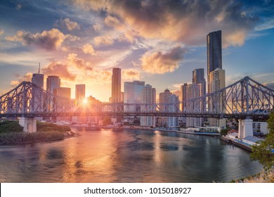 Brisbane. Cityscape image of Brisbane skyline, Australia with Story Bridge during dramatic sunset.