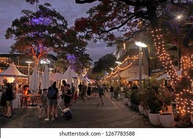 BRISBANE - DEC 22 2018:Southbank night market in Brisbane city, Queensland, Australia
