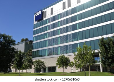 BRISBANE - DEC 26 2018:QUT University building exterior in Brisbane, Queensland, Australia.  In 2016, the total revenue generated by QUT from its continuing operations was $992.519 million.