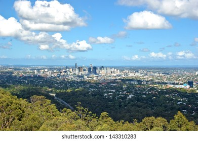 Brisbane downtown view from the mount. Australia