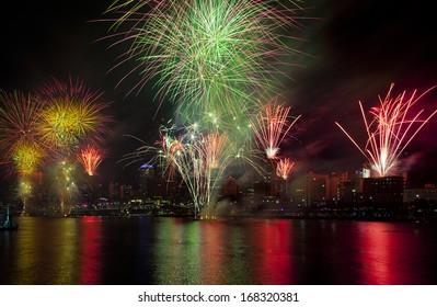 Brisbane festival firework display. Multiple explotions over the Brisbane city river in Queensland Australia