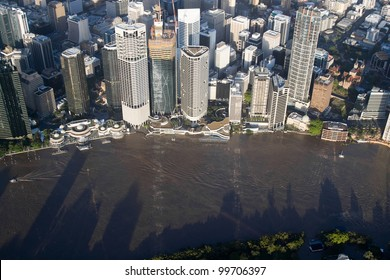 Brisbane Flood 2011 Aerial View CBD Restaurants and Ferry Terminals Under Water. Restaurants, ferry terminals and board walks vanished from view as parts of the inner city were consumed by flooding.