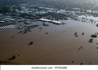 Brisbane Flood January 2011 Aerial View Rocklea Markets & light industrial area. View of businesses and markets & homes destroyed by Australia's worst disaster. This is the floodplain to city's south