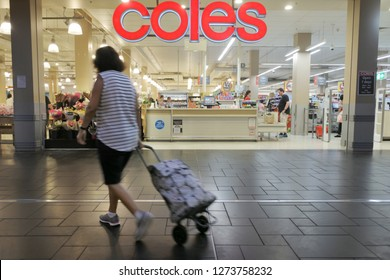 BRISBANE - JAN 03 2019:Shoppers in Coles Supermarket.Coles has over 100,000 employees and, together with rival Woolworths, accounts for more than 80 per cent of the Australian market.