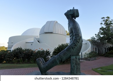 BRISBANE - JAN 13 2019:Sculpture of Konstantin Tsiolkovsky outside the Sir Thomas Brisbane Planetarium in Brisbane, Queensland, Australia.