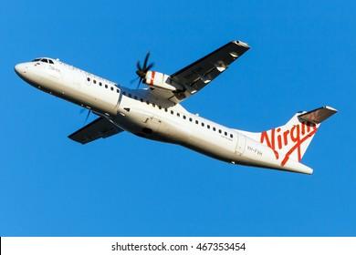 BRISBANE - JULY 30: Virgin Australia ATR plane is taking off from Brisbane Airport in Australia as seen on July 30, 2016.