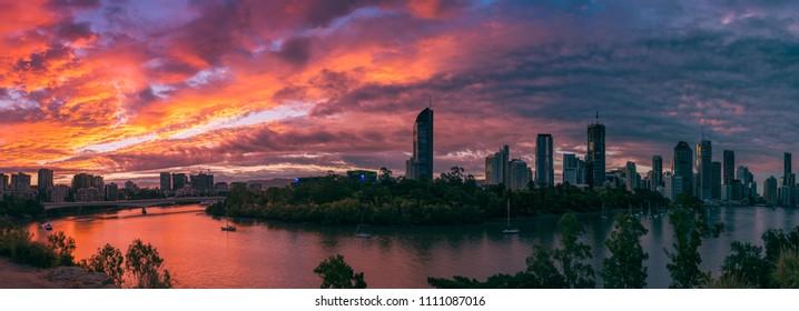 Brisbane panoramic view of dramatic sunset