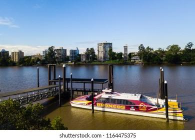 Brisbane, QLD, Australia - April 2018: a Citycat on the Brisbane River with Broncos logo