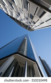 BRISBANE, QLD, AUSTRALIA - AUGUST 14, 2015: perspective view to steel and glass high rise building skyscraper commercial modern city on riverside in Brisbane, QLD, Australia on August 14, 2015