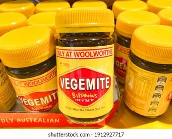 Brisbane, Queensland Australia 02 02 2021: A Vegemite jar on the shelf at the supermarket