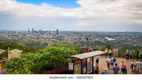 Brisbane, Queensland, Australia - 23 October 2017: Tourists enjoying panoramic Brisbane view from Mt Coot-tha