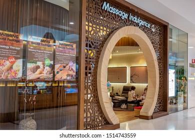 Brisbane, Queensland, Australia: 24th September 2019: Massage Indulgence shopfront in Westfield Shopping CentreMassage Indulgence Shopfront In Shopping Centre
