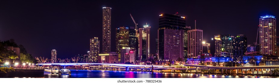 Brisbane, Queensland, Australia. 25/10/2017: Panoramic view of Brisbane city centre at night.