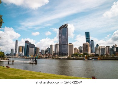 Brisbane, Queensland, Australia - 4th January 2020: Cityscape of beautiful city of Brisbane, capital of Queensland, Australia in summer with skyscrapers and river