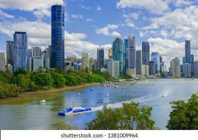 ''Brisbane, Queensland / Australia - April 12 2019, The capital of the state and the third largest city in Australia with a population of 2.200000 people.