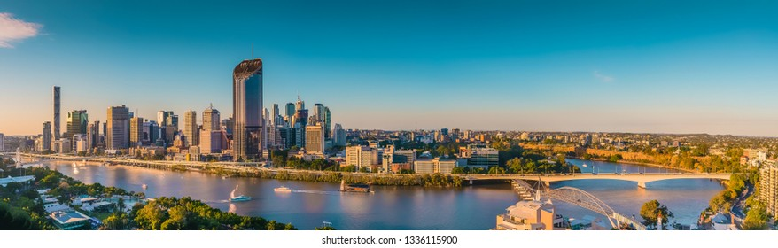 Brisbane, Queensland / Australia - August 12 2016: Midday panorama of the Brisbane skyline showing South Bank, the Brisbane River and CBD. Brisbane is the capital of Queensland