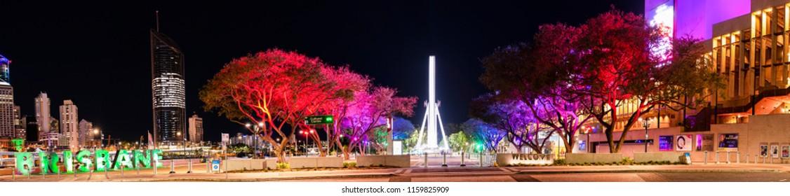 BRISBANE, QUEENSLAND, AUSTRALIA - AUGUST 19th 2018: View of Southbank parklands in Brisbane city, Queensland at night on Sunday 19th August 2018.