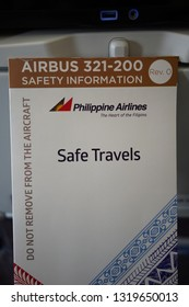 Brisbane, Queensland / Australia - January 15 2019: A safety information booklet for Airbus 321 airplane provided by Philippine Airlines