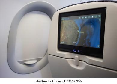 Brisbane, Queensland / Australia - January 15 2019: Philippine Airline Airbus 321 entertainment screen showing flight information