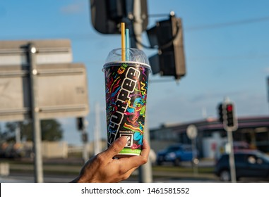 Brisbane, Queensland / Australia - July 26th 2019: Slurpee from Seven Eleven(7-Eleven)