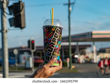Brisbane, Queensland / Australia - July 26th 2019: Cherry Slurpee close up from Seven Eleven(7-Eleven)