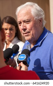 Brisbane, Queensland, Australia, May 17 2017, Clive Palmer interviewed by media outside Commonwealth Law Courts Brisbane