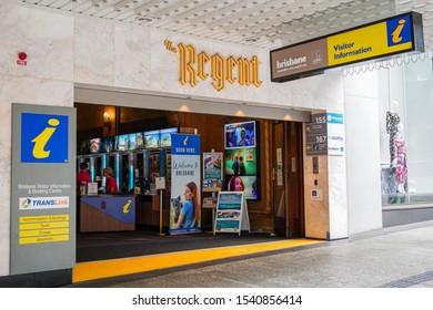Brisbane, Queensland / Australia - October 19 2019: Brisbane Visitor Information and Booking Centre at the Regent Theatre Foyer along Queen Street