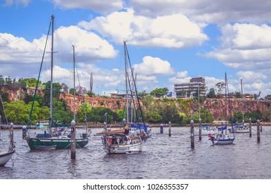 Brisbane, Queensland, Australia - October 23, 2017: Modern buildings located by Brisbane river