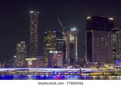Brisbane, Queensland, Australia. Panoramic view of Brisbane city centre at night. Taken on 25/10/2017